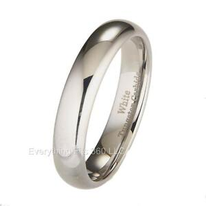 White Tungsten Carbide Wedding Ring Mens Womens 3, 4, 5, 6, 7, 8, 10mm widths