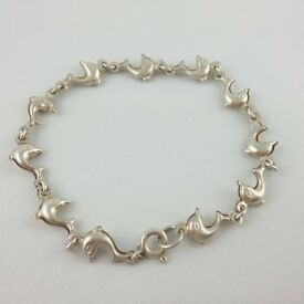 Silver 925 Bracelet - Delicate Silver Bracelet Dolphins – lenght 18,3 cm – weigh 3,8 g - for Ladies