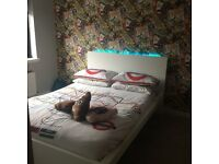 White malm double bed with lights