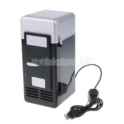 5V Mini Fridge Portable Heat Cool Can Beverage USB Refrigerator LED Black