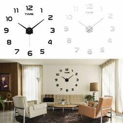 Large Frameless Wall Clock Surface Sticker Art 3D Mirror Office DIY Decor Black
