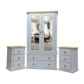 Handmade Sandra 2 Door + 2 Drawer Mirror Wardrobe + 2 X 3 Drawer Bedside (Assembled)