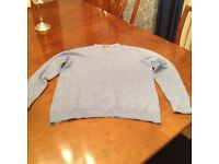 Mens Merino Wool pale blue jumper