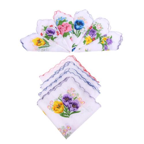 Fazzoletti cotone da donna 10 pezzi assortiti con bordo ondulato e stampa