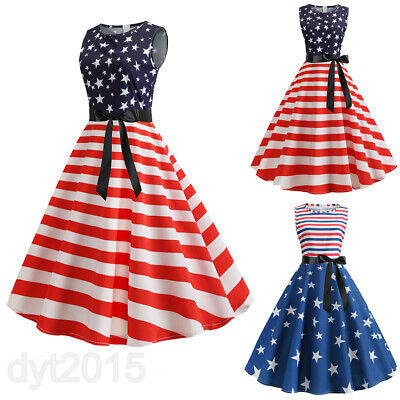 Patriotic Dress Womens (Patriotic Women Vintage A-Line Dress Bowknot Tunic Sleeveless American Flag)