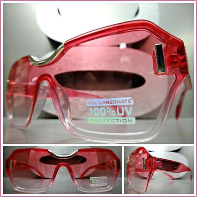 CLASSY CONTEMPORARY MODERN Cat Eye Style SUN GLASSES Transparent Hot Pink Frame