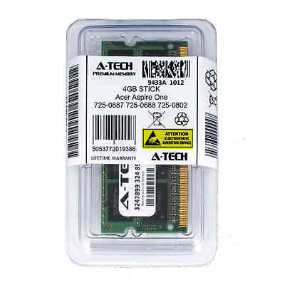 4GB SODIMM Acer Aspire One 725-0687 725-0688 725-0802 PC3-8500 Ram Memory