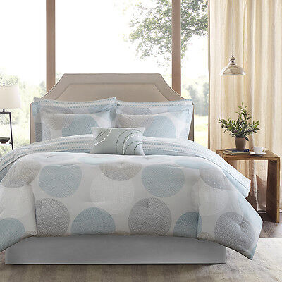 BEAUTIFUL MODERN CONTEMPORARY BLUE AQUA GREY COMFORTER SHEET BED IN A BAG SET