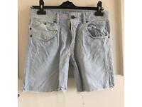 Bershka Light Denim Cut Off Shorts