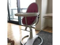 Bloom Fresco Chrome Contemporary High Chair White/Pink