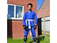 BJJ Tatami Gi (Large/A3) + Blitz sparring equipment (shin gaurds, sparring gloves and groin gaurd)