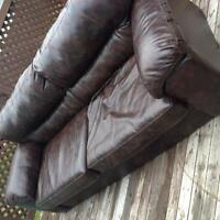 Brown fake leather couch