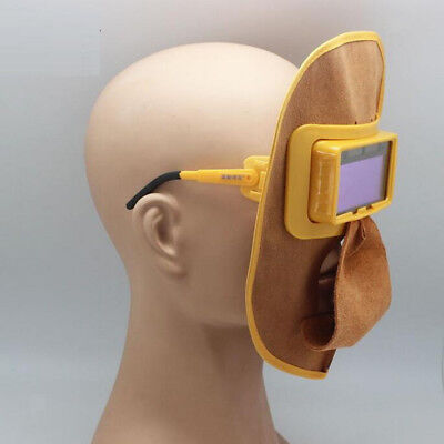 Portable Leather Welding Solar Auto Darkening Filter Lens Hood Helmet Mask