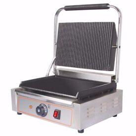 Stainless Steel NEW Heavy Duty Electric Ribbed & Flat Plates Panini Sandwich Toaster Machine