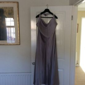 Austinreed silver grey long evening dress Pure silk size16