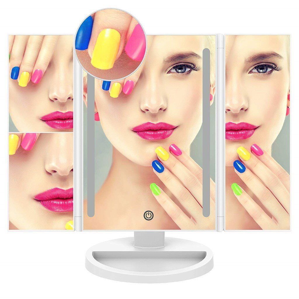 Led Makeup Mirrorwith 10x Magnification Spot Mirror And A Brush Egg