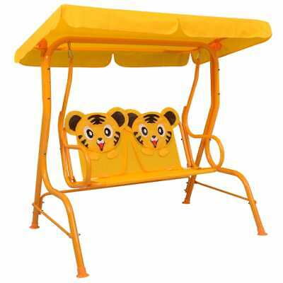 Outdoor Garden 2 Seat Kids Swing Bench with Canopy Yellow 115x75x110 cm Fabric