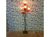 Mid Century Red Hide Skin Stained Shade Floor Lamp With Metal Frame