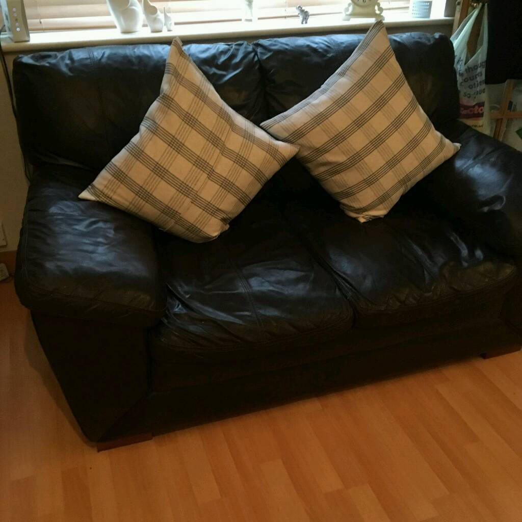 2 & 3 seater DFS brown leather sofas selling separately
