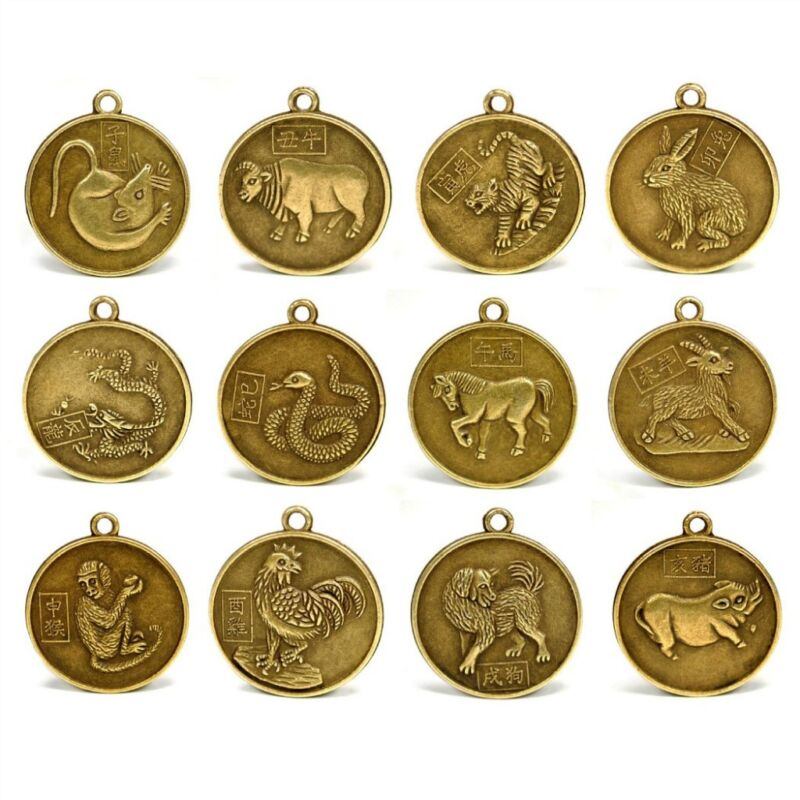 """SET OF 12 CHINESE ZODIAC CHARMS 1"""" Pendant Feng Shui Lunar New Year Horoscope"""
