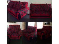 2+1+1 piece suite. Red/black comfortable fabric design.