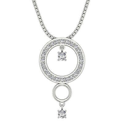 Hanging Diamond Necklace (Circle Pendant Necklace Hanging Diamond SI1 G 0.55 Carat 1.00 Inch White)