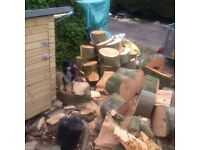 Freshly cut and split hardwood firewood for sale, beech and oak, season yourself, per cubic meter