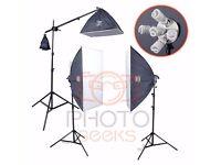 Continuous Photography Lighting Kit - PhotoGeeks 3 Light Super 5 Softbox 10 30w & 1 55w 5500k Bulbs