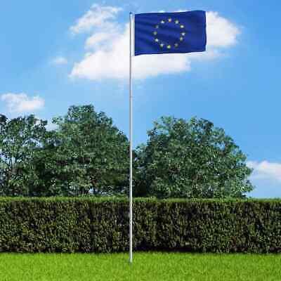 vidaXL Europe Flag and Pole Aluminium 6m Outdoor Flag Pole Halyard Pole Kit