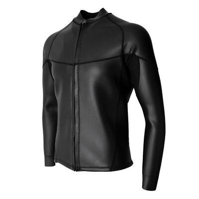 Mens 2mm schwarz Neopren Neoprenanzug Top-Jacke glatte Haut Tauchen Surfen