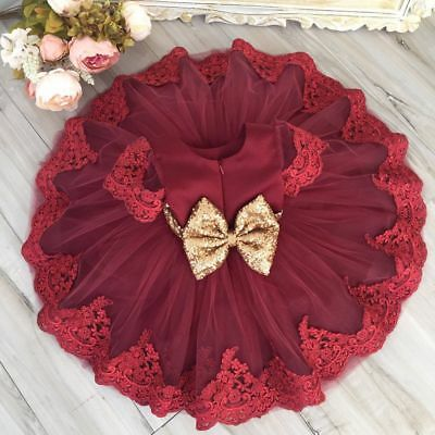 Baby Girl Party Dress Sequins Back Heart Tutu Princess Wedding Birthday Dresses