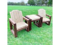 2 Seater Garden Table and Chairs / Wooden Garden Furniture Set / FREE Delivery Norwich