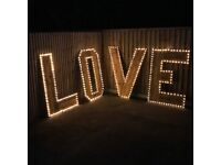 5ft Illuminated LOVE lights, rustic vintage wooden wedding or events FOR HIRE