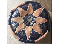 Moroccan Leather Poof Foot Rest (blue/cream,/gold decoration) - Redland - £15 ono