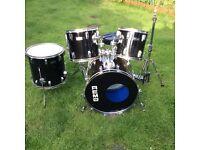Drum kit Remo u.s.a. Black and chrome rock kit.
