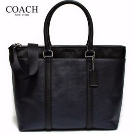 COACH New York men's leather business tote