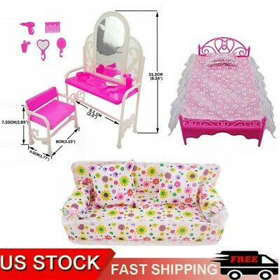 Kids Toy Pink Bed & Dresser Dressing Table Doll Dollhouse Furniture Kids Gift US