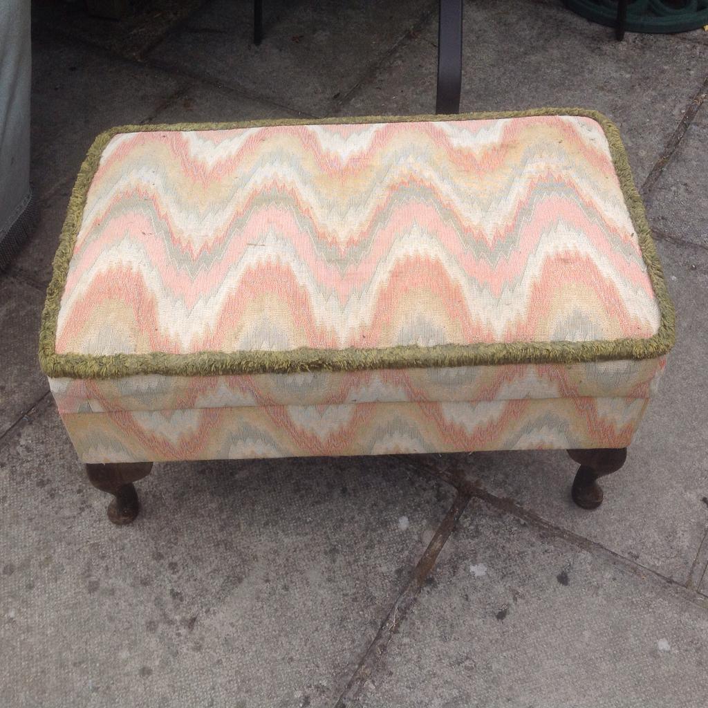 Footrest storage box craft box lift up lid Vintage