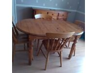 Extending table and 4 chairs pine