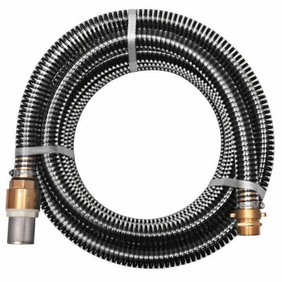 Suction Hose with Brass Connectors 15 m 25 mm Black Watering Pipe N6W2