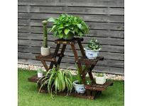 4-Tier Wood Plant Flower Display Stand 6 Pots Garden Shelf GT3516