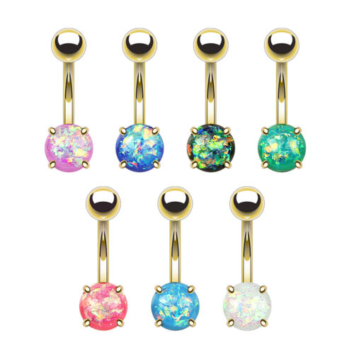 7pcs Opal Glitter Prong Set Gold Plated Steel Belly Button Rings Naval Navel