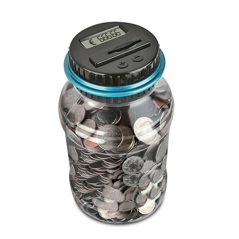 Details about  /Clear Digital Piggy Bank Coin Savings Counter LCD Counting Money Jar Change