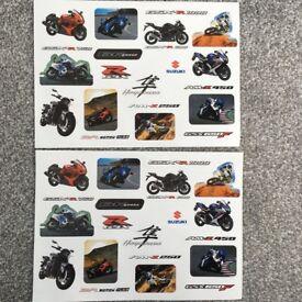 2 x A4 GENUINE Suzuki Motorcycle Racing Stickers Tool Chest GSXR 1000 600 750