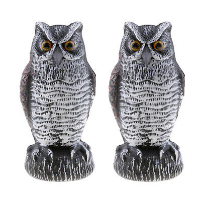 2PC Owl Decoy Statue Scarecrow To Scare Birds Away Squirrels For Garden Yard