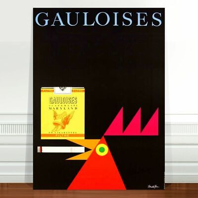 "Vintage Cigarette Advert Poster Art ~ CANVAS PRINT 8x10"" Gauloises chicken"