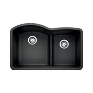 NEW Blanco 441590 Diamond 1.75 Low Divide Under Mount Double Bowl Kitchen Sink, Large, Anthracite