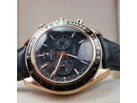 Rossco's Watches. Omega Speedmaster. Rose Gold Case, Leather Strap. New, Boxed with Paperwork