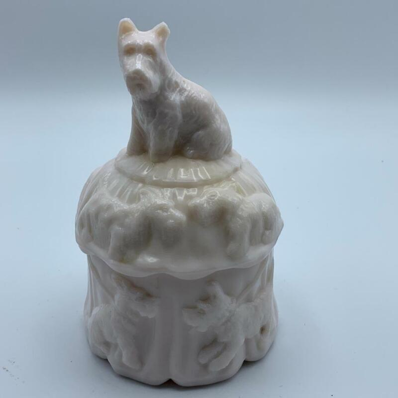 Akro Agate Pink Milk Glass Scotty Dog Covered Dish