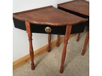 Pair of handcrafted bedside tables, upcycled from 1950s telephone table